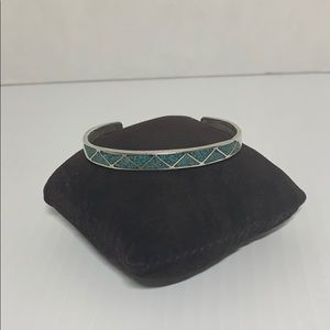 Antique turquoise & sterling silver slip on bangle